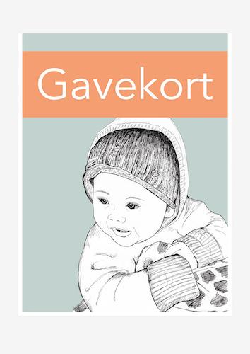 plakatbarn håndtegnet portræt gavekort